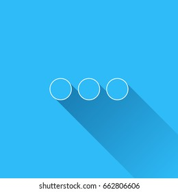 Ellipsis with long shadow and white outline on blue background. Blue symbol in a flat design style. Vector illustration, easy to edit.