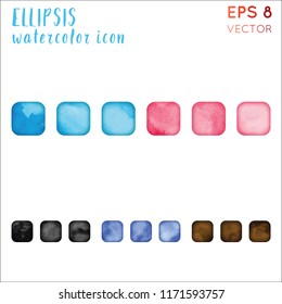 Ellipsis watercolor icon set. Alluring hand drawn style symbol. Unequaled painting. Modern design for infographics or presentation.
