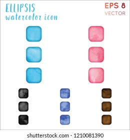 Ellipsis watercolor icon set. Alluring hand drawn style symbol. Uncommon painting. Modern design for infographics or presentation.