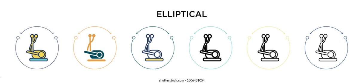Elliptical icon in filled, thin line, outline and stroke style. Vector illustration of two colored and black elliptical vector icons designs can be used for mobile, ui, web