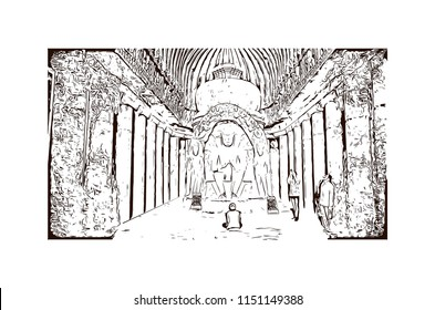 Ellora, located in the Aurangabad district of Maharashtra, India, is one of the largest rock-cut monastery-temple cave complexes in the world. Hand drawn sketch illustration in vector.