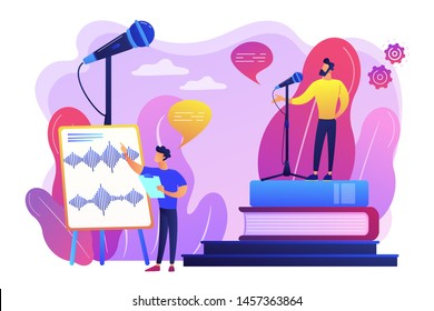 Elocution lesson. Speech improvement. Recording studio. Voice and speech training, voice projection techniques, improve your spoken skills concept. Bright vibrant violet vector isolated illustration
