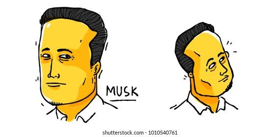 Elon Musk CEO of tesla. Cartoon portrait