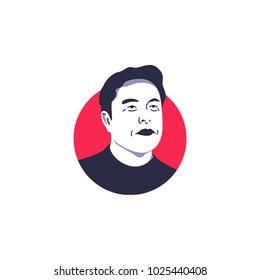 Elon musk illustration vector isolated