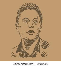 Elon Musk, June 09, 2015. Palo Alto, CA, USA. Sketch by hand. Vector illustration.