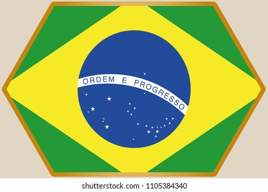 An elongated Hexagon with the Flag of Brazil