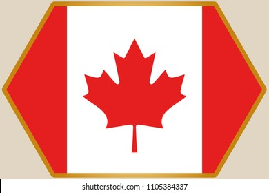 An elongated Hexagon with the Flag of Canada