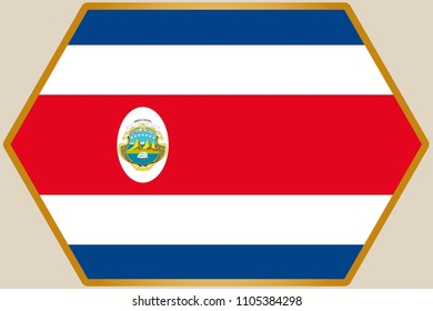 An elongated Hexagon with the Flag of Costa Rica