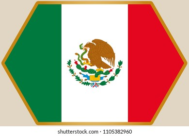 An elongated Hexagon with the Flag of Mexico