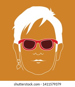 Elton John rocketman movie vector cool emoji face