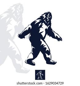 Elusive Sasquatch, Yeti, One Color Illustration, Vector Logo. Professional business, corporate identity icon.