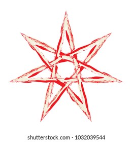 Elven Fairy Star or heptagram vector symbol. Seven-pointed grunge star