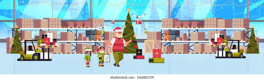 elves couple helpers of santa claus working together with gift present boxes modern warehouse interior christmas holidays celebration concept full length horizontal banner vector illustration