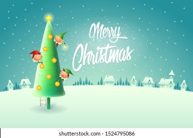 Elves decorating Christmas tree - Merry Christmas greeting card - winter night scene vector illustration