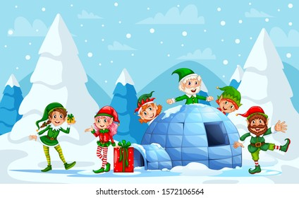 Elves Playing during Christmas Celebrations. Group of elf. Christmas Elf Group Cartoon Character Santa Helper With Present Box Stack. Smiling Santa elf Christmas character standing on snow hill.