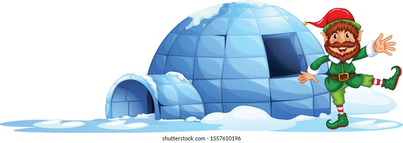 Elves playing outside the igloo cartoon vector art and illustration