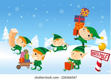 Santa´s elves working at the north pole carrying santa claus presents for the children of the world