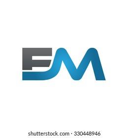 EM company linked letter logo blue