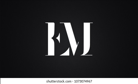 EM Curvy Signature Handwritten Letter Logo Design Template Vector