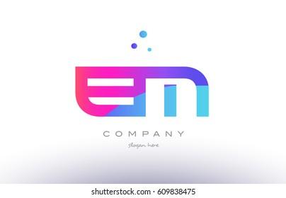 em e m  creative pink purple blue modern dots creative alphabet gradient company letter logo design vector icon template