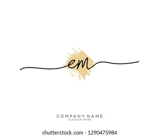 EM E M Initial handwriting logo template