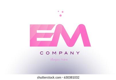 em e m letter alphabet text pink purple dots creative company logo vector icon design template