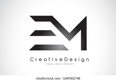 EM E M Letter Logo Design in Black Colors. Creative Modern Letters Vector Icon Logo Illustration.
