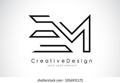 EM E M Letter Logo Design in Black Colors. Creative Modern Letters Vector Icon Logo Illustration.
