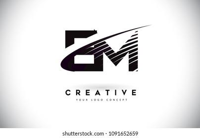 EM E M Letter Logo Design with Swoosh and Black Lines. Modern Creative zebra lines Letters Vector Logo