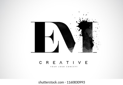 EM E M Letter Logo Design with Black Ink Watercolor Splash Spill Vector Illustration.