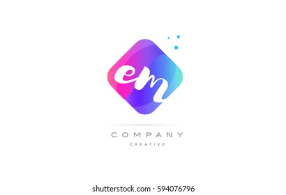 em e m  pink blue rhombus abstract 3d alphabet company letter text logo hand writting written design vector icon template