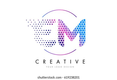 EM E M Pink Magenta Dotted Bubble Letter Logo Design. Dots Lettering Vector Illustration