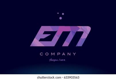 em e m polygon polygonal letter alphabet text pink purple dots creative company logo vector icon design template