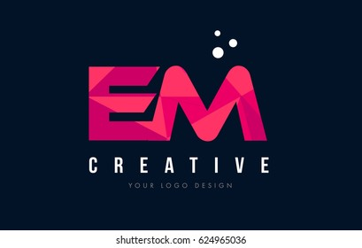 EM E M Purple Letter Logo Design with Low Poly Pink Triangles Concept