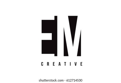 EM E M White Letter Logo Design with Black Square Vector Illustration Template.