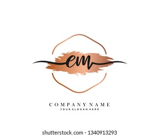 EM handwriting initial  logo vector