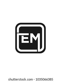 EM initial box letter logo template vector