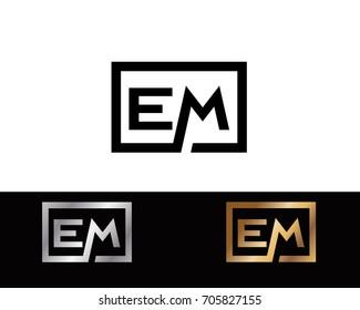 EM initial box shape Logo designs template