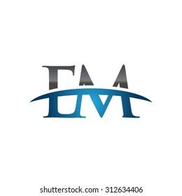 EM initial company blue swoosh logo