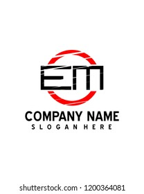 EM  Initial logo with circle template vector