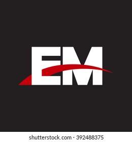EM initial overlapping swoosh letter logo white red black background