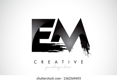 EM Letter Design with Brush Stroke and Modern 3D Look Vector Illustration.