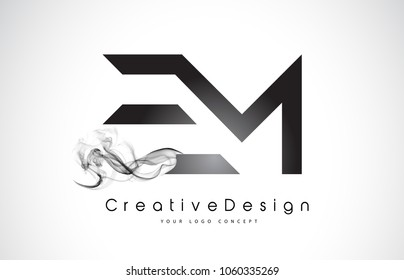 EM Letter Logo Design with Black Smoke. Creative Modern Smoke Letters Vector Icon Logo Illustration.