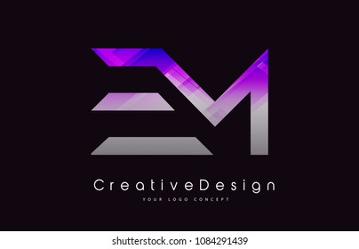EM Letter Logo Design in Purple Texture Colors. Creative Modern Letters Vector Icon Logo Illustration.