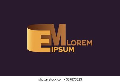 EM letters logo, E and M letters logo alphabet design.