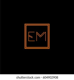 em logo letter initial, Abstract Polygonal Background Logo, design for Corporate Business Identity,flat icon, Alphabet letter