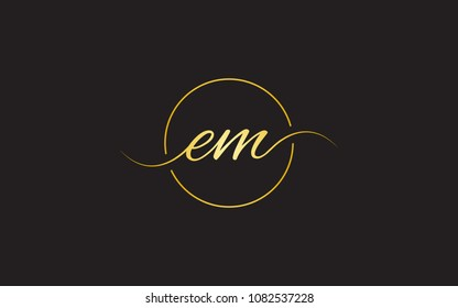 em me Circular Cursive Letter Initial Logo Design