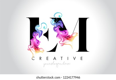 EM Vibrant Creative Leter Logo Design with Colorful Smoke Ink Flowing Vector Illustration.