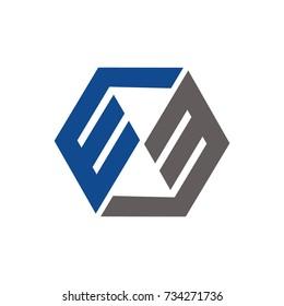 EM or WM or EE logo initial letter design template vector