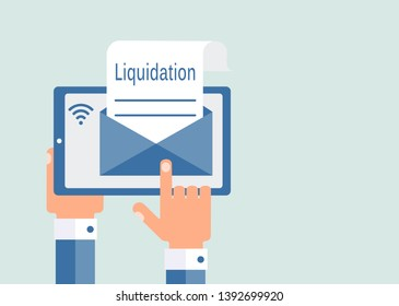 E-mail about the liquidation of the company, business. Flat design, uniform background.
